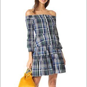 English factory ruffle off shoulder plaid dress S